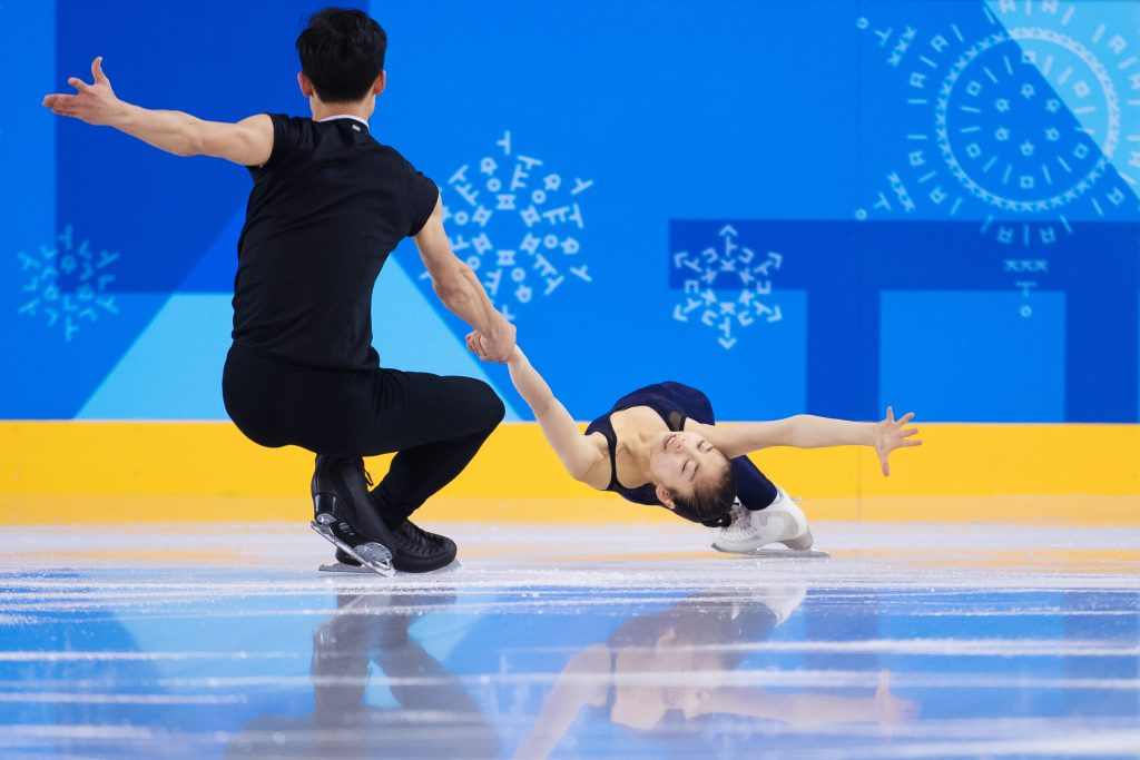 180206 Ju Sik Kim and Ryom Tae Ok of North Korea during a Figure Skating practice session for Pair Skating ahead of the 2018 Winter Olympics on February 6, 2018 in Pyeongchang. Photo: Joel Marklund / BILDBYRÅN / kod JM / 87600