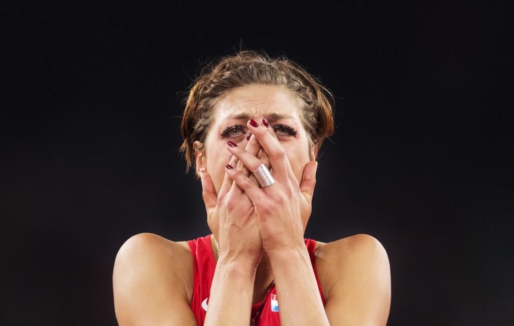Nikon D4s with AF-S Nikkor 400/2.8 FL ED VR + AF-S Teleconverter TC-14E III 1/1250, f4, ISO 3200 Blanka Vlasic of Croatia look dejected during the Women's High Jump final at the IAAF Athletics World Championship on August 29, 2015 in Beijing, China.