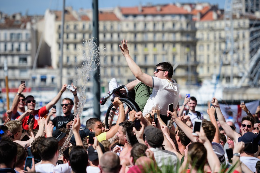 celebration, violence, UEFA, fan, Euro 2016, football, tournament, France, Russia, Marseille, England fans, Russian fans,