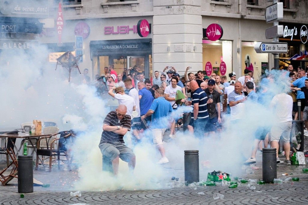 tear gas, local police, UEFA, fan, Euro 2016, football, tournament, France, Russia, England fans, Russian fans, local gangs, French riot squads, bottles, fight, photography