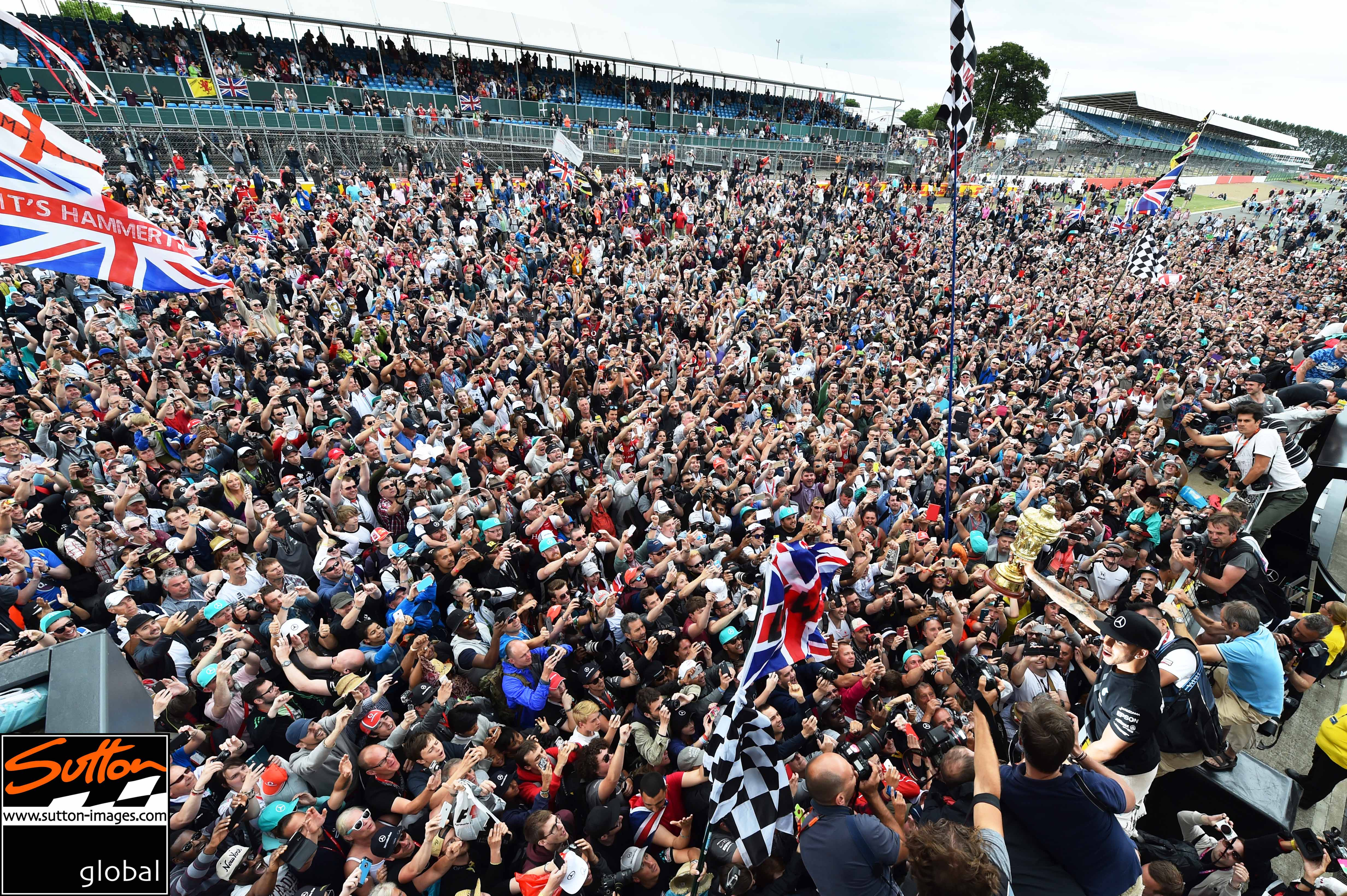 Race winner Lewis Hamilton (GBR) Mercedes AMG F1 celebrates with the fans at Formula One World Championship, Rd9, British Grand Prix, Race, Silverstone, England, Sunday 5 July 2015