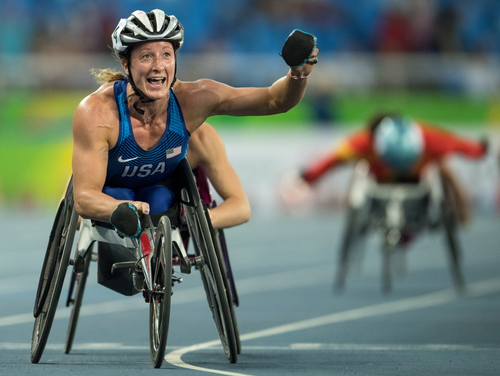 Paralympics, Tatyana McFadden USA celebrates winning the Women's 5000m - T54 Final at the Olympic Stadium. The Paralympic Games, Rio de Janeiro, Brazil,