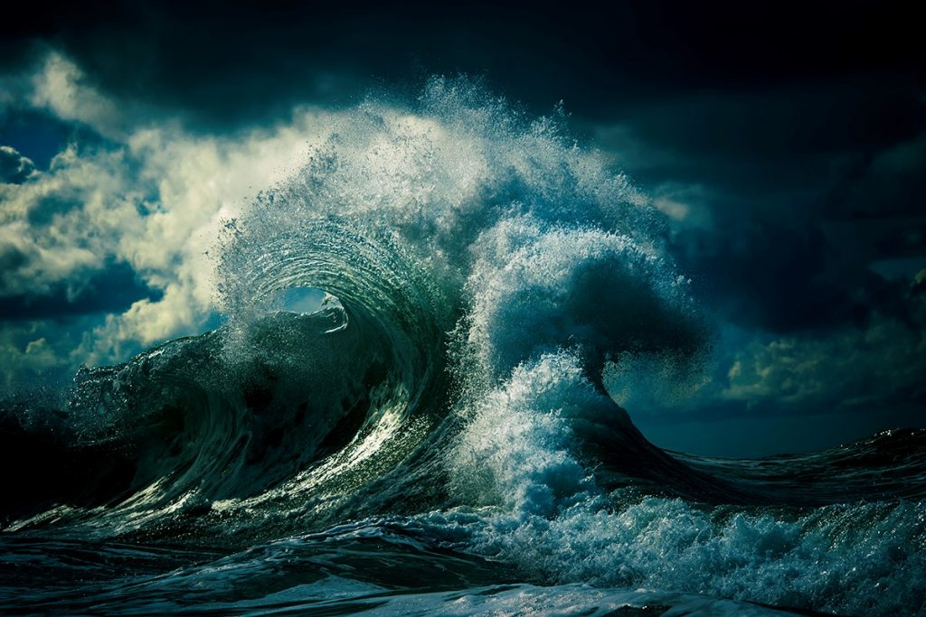 Collide: a seascape image of green and blue waves colliding, captured by Ray Collins using a Nikon D4