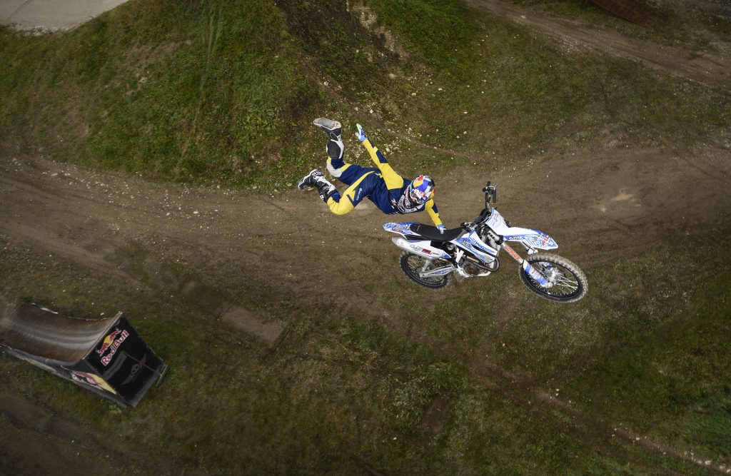 Luc Ackermann jumping motocross shot from the top