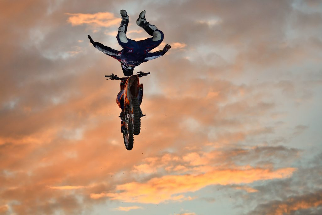 Flying in the air motocross Rider Matteo Botteon