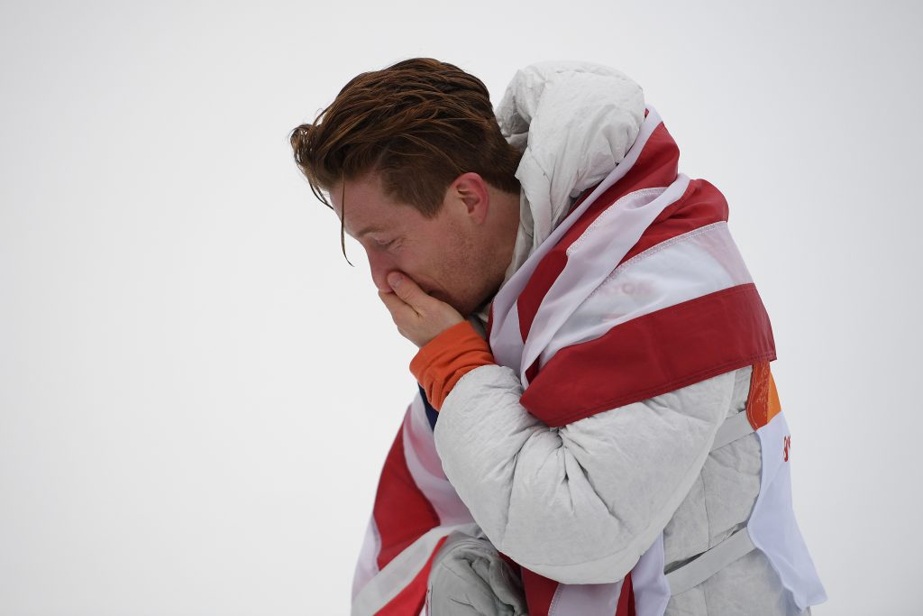 Shaun White of the USA reacts after winning the gold medal in the Men's Snowboard Halfpipe Final, at Phoenix Snow Park during the PyeongChang 2018 Winter Olympic Games. Nikon D5 | AF-S NIKKOR 70-200mm f/2.8G ED VR || | ISO 2000 | 1/2000 s | f/4.0 Photo by Dan Himbrechts/AAP Image