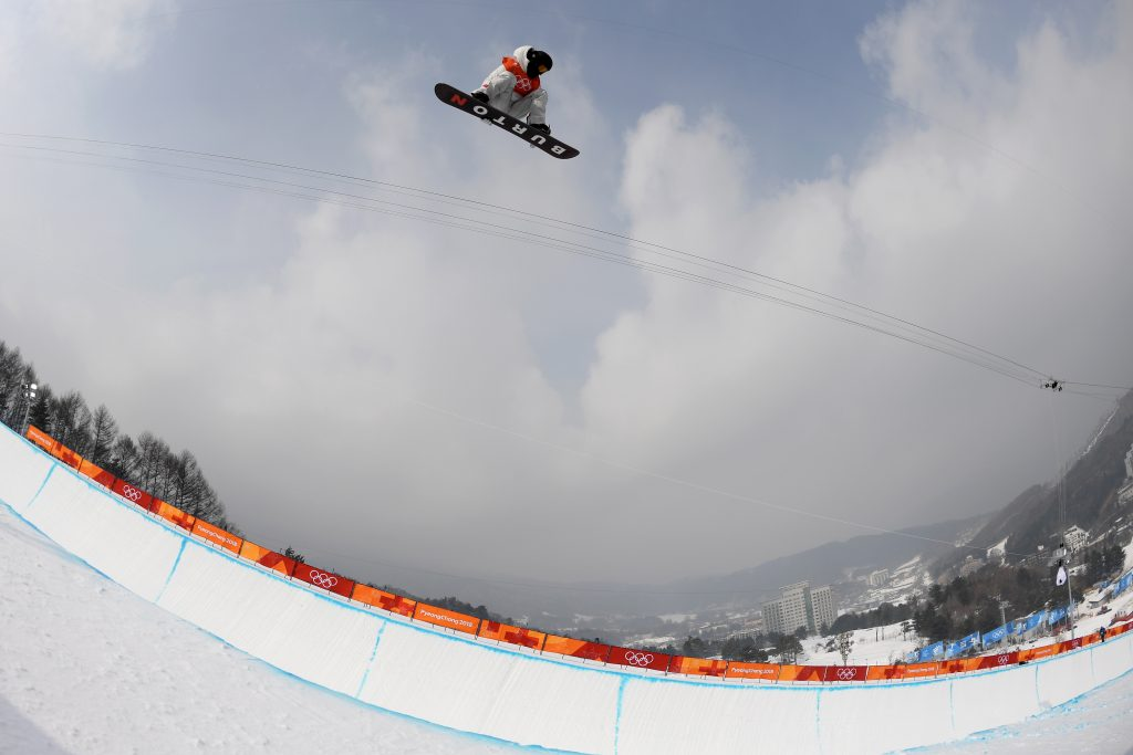 Shaun White of the USA is seen during a training run in the halfpipe at Phoenix Snow Park during the PyeongChang 2018 Winter Olympic Games. Nikon D5 | AF-S NIKKOR Fisheye-Nikkor 16mm f/2.8D | ISO 200 | 1/3200 s | f/5.6 Photo by Dan Himbrechts/AAP Image