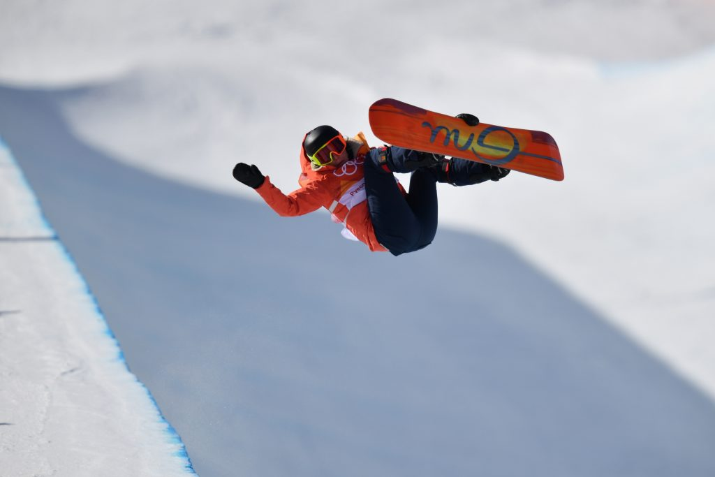 Mirabelle Thovex of France competes in the Women's Halfpipe Final at Phoenix Snow Park during the PyeongChang 2018 Winter Olympic Games. Nikon D5 | AF-S NIKKOR 400mm f/2.8E FL VR with AF-S TELECONVERTER TC-14 ||| | ISO 100 | 1/2500 s | f/4.5 Photo by Dan Himbrechts/AAP Image