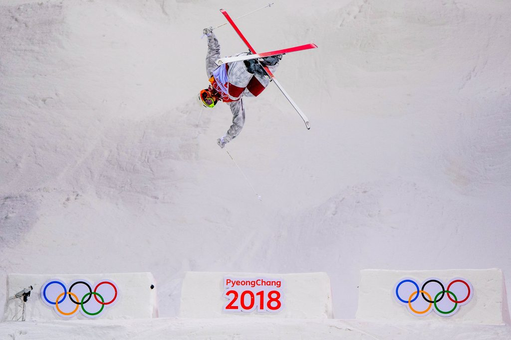 Moguls Skier Mikael Kingsbury of Canada trains ahead of the PyeongChang 2018 Winter Olympic Games at the Bokwang Phoenix Snow Park on February 6, 2018 in Pyeongchang-gun, South Korea. Nikon D5 | AF-S NIKKOR 600mm f/4E FL ED VR | 1/1600s | F4.0 Photo by David Ramos/Getty Images