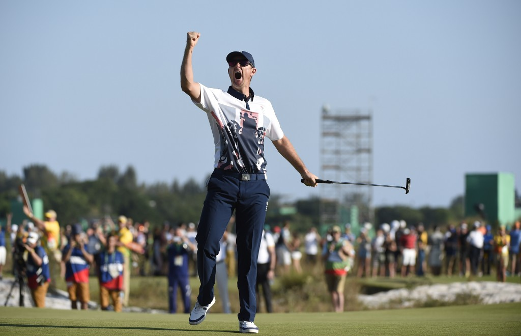 Justin Rose of Great Britain reacts on the 18th after winning gold during the fourth round of the Rio 2016 Olympic Games men's golf tournament at the Olympic Golf Course in Barra da Tijuca, Rio de Janeiro, Brazil, 14 August 2016.