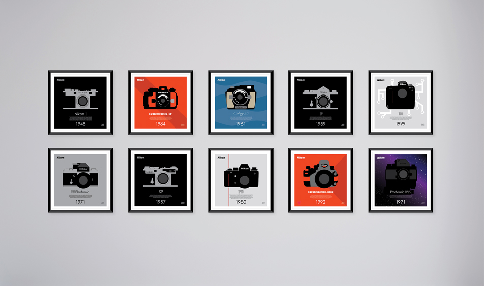 Ten Iconic Cameras. Ten Iconic Posters. To celebrate Nikon's 100 year history of providing the world with imaging devices that help tell the stories that matter, Nikon USA released a this series of posters of ten iconic cameras, printed as limited edition posters.