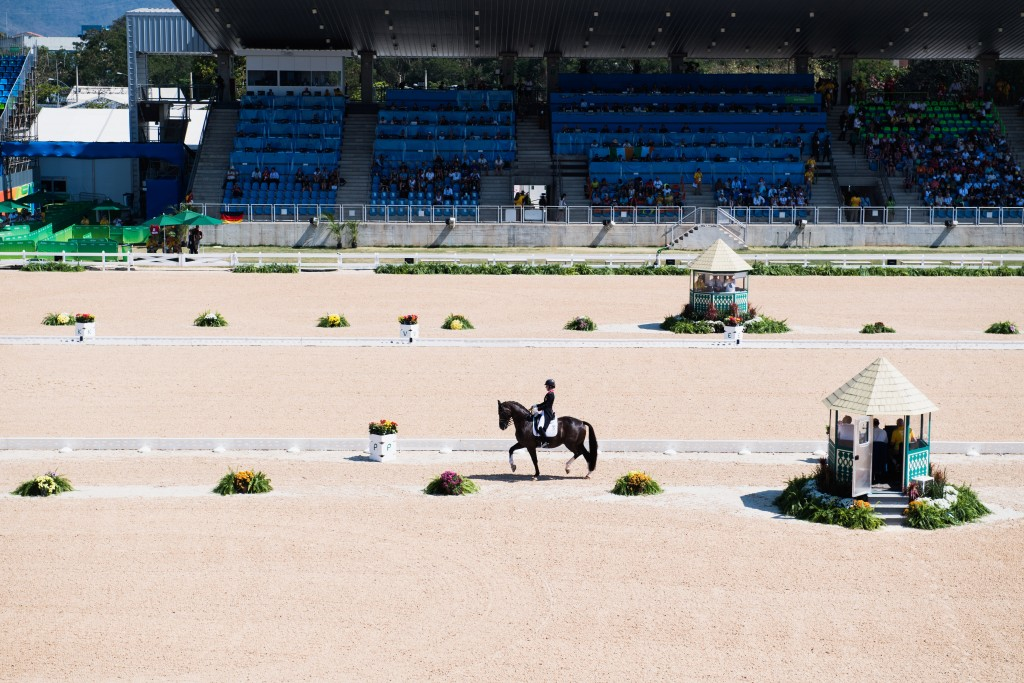 Gold medal winner Charlotte Dujardin (Great Britain) and her horse Valegro during her individual freestyle dressage Grand prix in the equestrian stadium of Deodoro.