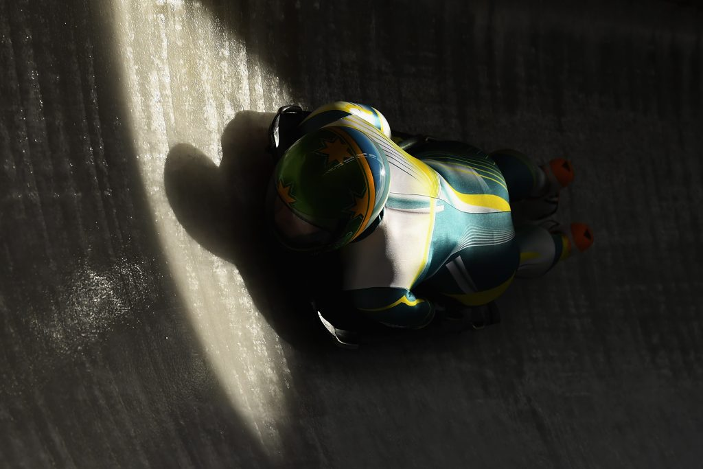 Jaclyn Narracott of Australia practices during Women's Skeleton training ahead of the PyeongChang 2018 Winter Olympic Games at the Olympic Sliding Centre, Pyeongchang-gun, South Korea. Nikon D5 | AF-S NIKKOR 70-200mm f/2.8E FL @125mm | ISO 1250 | 1/8000s | F5 Photo by Matthias Hangst/Getty Images
