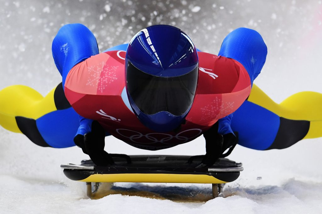 Vladyslav Heraskevych of Ukraine slides into the finish area during the Men's Skeleton heats at Olympic Sliding Centre on February 16, 2018 in Pyeongchang-gun, South Korea. Nikon D5 | AF-S NIKKOR 600mm f/4E FL ED VR | ISO 2000 | 1/2000s | f/4 Photo by Matthias Hangst/Getty Images