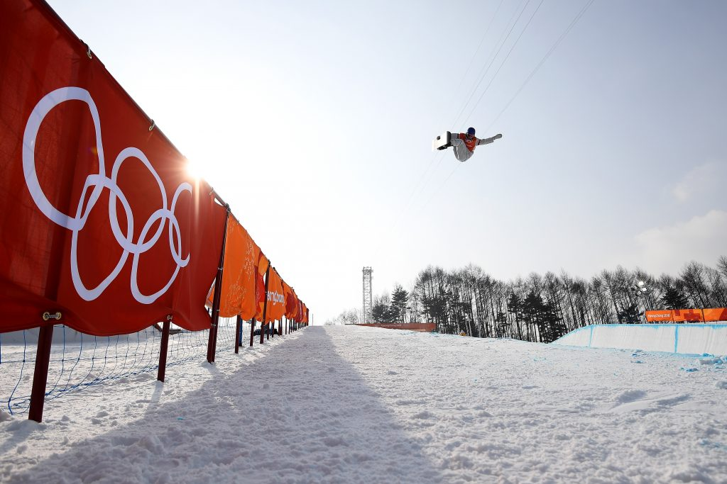 Jake Pates of the USA is seen during a training run in the halfpipe at Phoenix Snow Park during the PyeongChang 2018 Winter Olympic Games. Nikon D5 | AF-S NIKKOR 16-35mm f/4G ED VR | ISO 200 | 1/2500 s | f/5.0 Photo by Dan Himbrechts/AAP Image