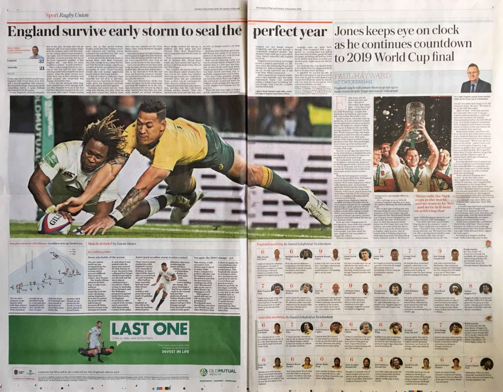 MARK PAIN sport photography The Sunday Telegraph's sport article: 'England survive early storm to seal the perfect year'