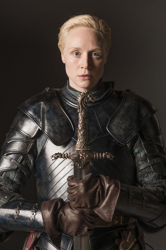 Portrait of Gwendoline Christie playing warrior Brienne of Tarth in the TV adaptation of the Song of Fire and Ice novels. Nikon D800 and an AF-NIKKOR 24-70mm f2.8G ED, @ f/8 | 70.0 mm| 1/125 sec | ISO 200 © Helen Sloan/HBO