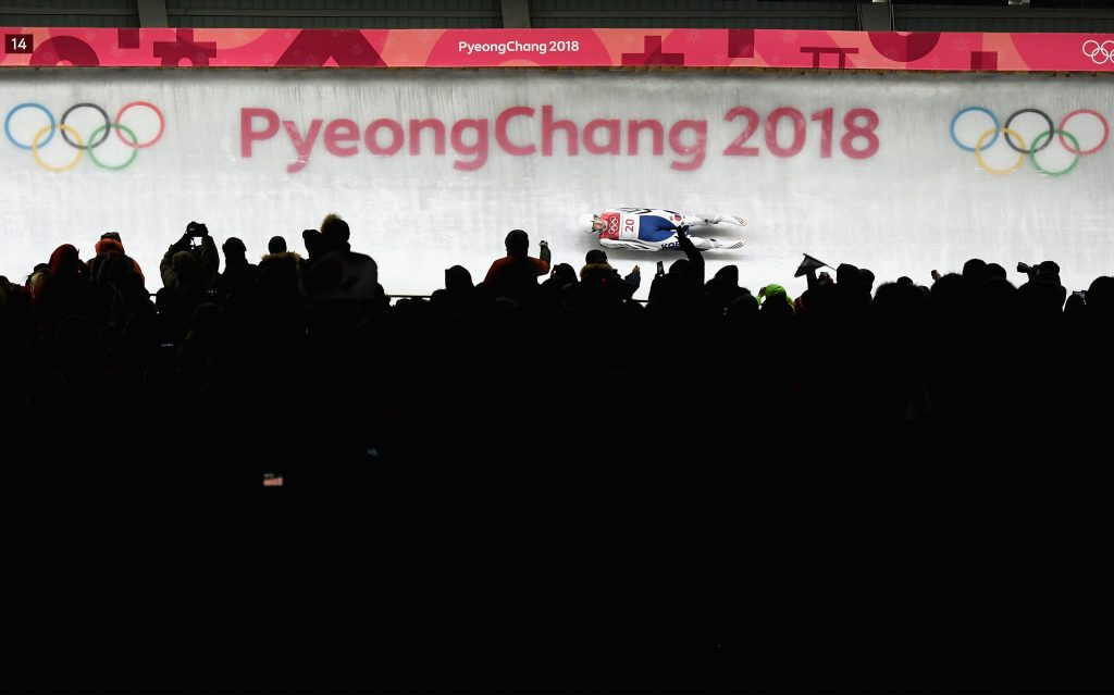 Aileen Christina Frisch of Korea slides during the Women's Singles Luge run 1 at Olympic Sliding Centre on February 12, 2018 in Pyeongchang-gun, South Korea. Nikon D5 | AF-S NIKKOR 70-200mm f/2.8E FL ED VR | ISO 5000 | 1/6400 s | f/2.8 Photo by Quinn Rooney/Getty Images