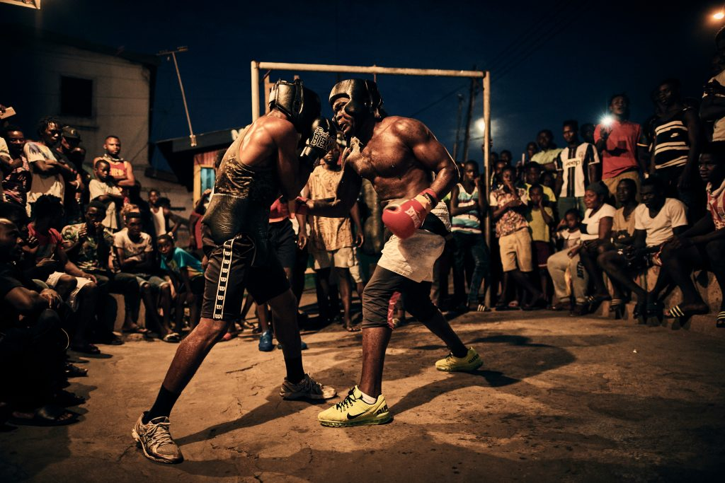 "From Right - Boxer Braimah Kamoko, aka ""Bukom Banku"" sparring with George Ashie aka ""Red Tiger"" at ""Wadada Boxing Gym"" in preparation for Kamoko«s fight with Bastie Samir. Accra, Ghana, October 4th, 2017. Nikon D5