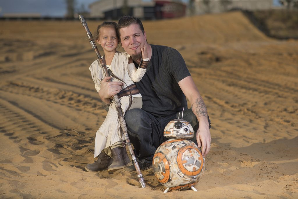 Rich Johnson's daughter as Rey from 'Star Wars: The Force Awakens'