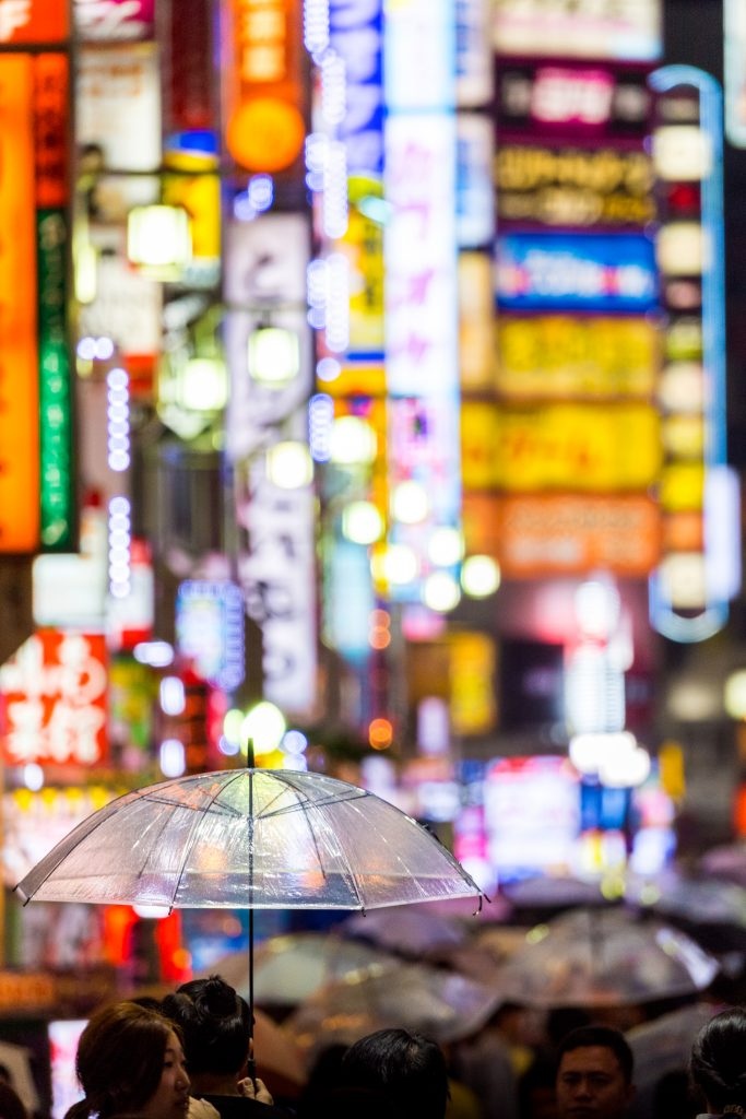 umbrella, Tokyo, photography, lights, city, lenses